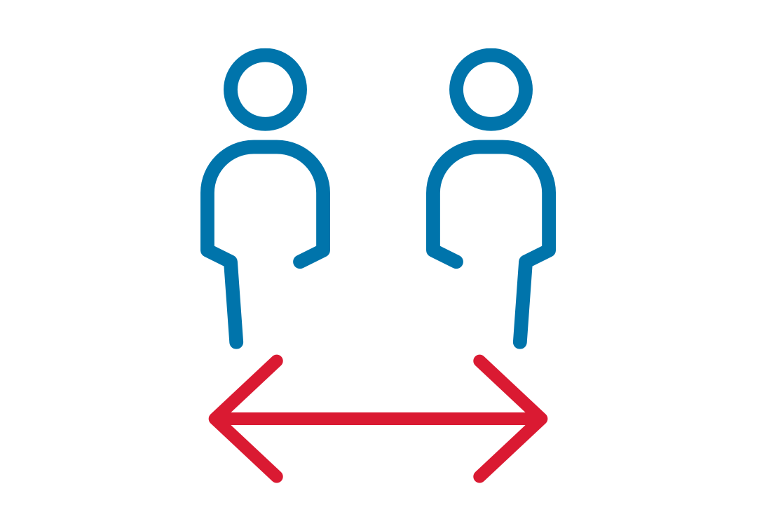 Graphic showing social distance.
